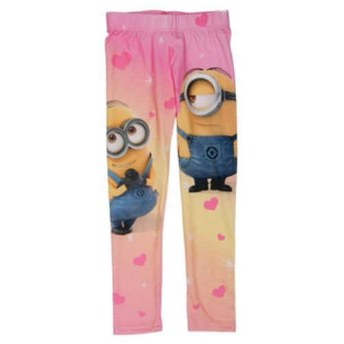 Fotodruckleggings v. Minions in rosa und blau