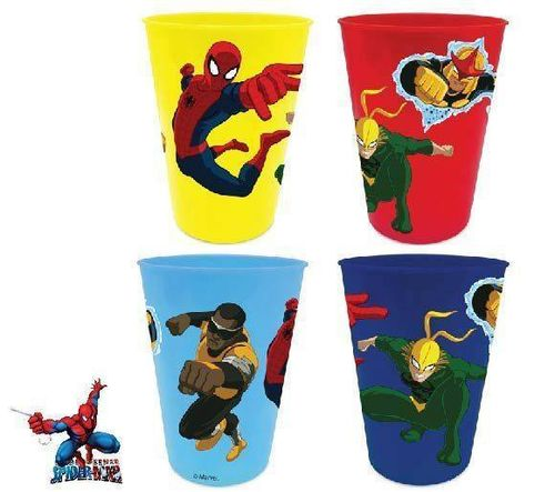4er Set Plastikbecher von Spiderman